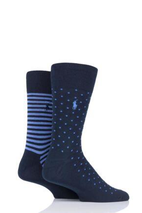 Mens 2 Pair Ralph Lauren Dot and Stripe Egyptian Cotton Socks
