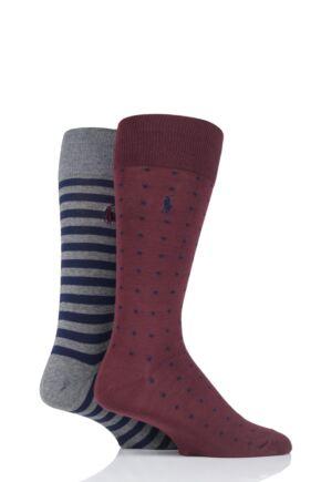 Mens 2 Pair Ralph Lauren Dot and Stripe Cotton Socks