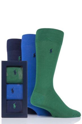 Mens 3 Pair Ralph Lauren Plain Cotton Gift Boxed Socks