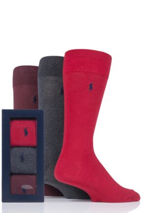 Mens 3 Pair Ralph Lauren Plain Cotton Gift Boxed Socks