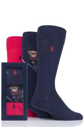 Mens 3 Pair Ralph Lauren Ski Jumping Bear and Plain Combed Cotton Gift Boxed Socks