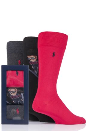 Mens 3 Pair Ralph Lauren Ski Jumping Bear and Plain Combed Cotton Gift Boxed Socks