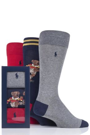 Mens 3 Pair Ralph Lauren Rugby Bear and Plain Combed Cotton Gift Boxed Socks