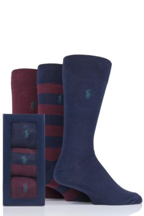 Mens 3 Pair Ralph Lauren Rugby Stripe and Plain Cotton Gift Boxed Socks