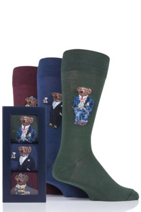 Mens 3 Pair Ralph Lauren 3 Bear Cotton Gift Boxed Socks
