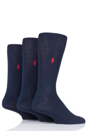 Mens 3 Pair Ralph Lauren Mercerized Cotton Flat Knit Plain Socks