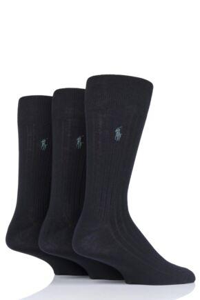 Mens 3 Pair Ralph Lauren Egyptian Cotton Ribbed Plain Socks