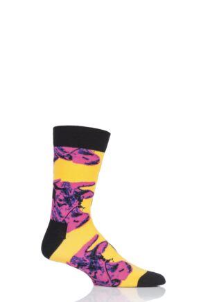 Mens and Ladies 1 Pair Happy Socks Andy Warhol Cow Pattern Socks