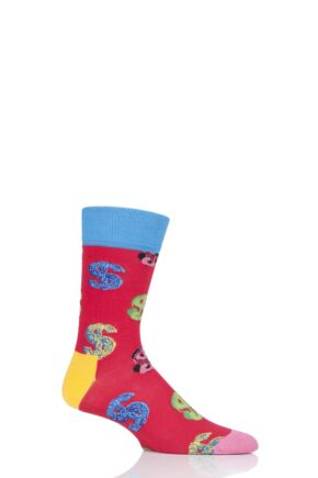 Mens and Ladies 1 Pair Happy Socks Andy Warhol Dollar Sign Socks Red 4-7 Unisex