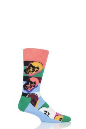 Mens and Ladies 1 Pair Happy Socks Andy Warhol Skull Socks