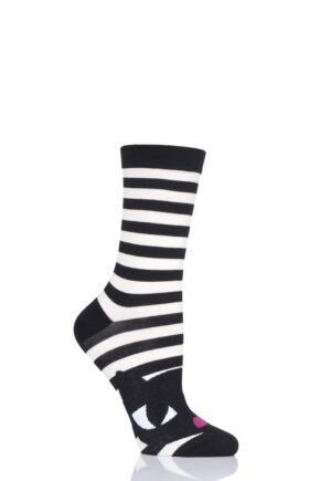 Ladies 1 Pair LuLu Guinness Striped Kooky Cat Bamboo/Cotton Socks