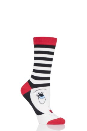 Ladies 1 Pair Lulu Guinness Doll Face Bamboo Socks