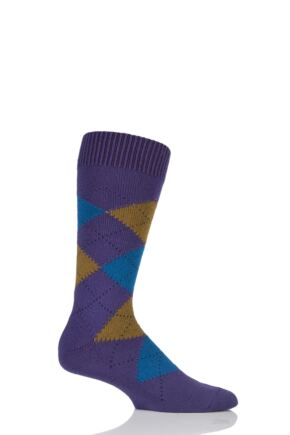 Mens 1 Pair Pantherella Racton Heavy Gauge Merino Wool Argyle Socks Dark Purple 6-8.5 Mens