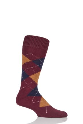 Mens 1 Pair Pantherella Racton Heavy Gauge Merino Wool Argyle Socks Wine 6-8.5 Mens