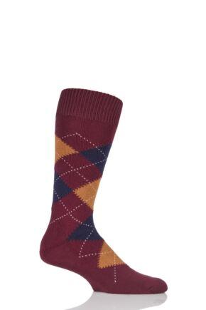 Mens 1 Pair Pantherella Racton Heavy Gauge Merino Wool Argyle Socks Wine 10-12 Mens