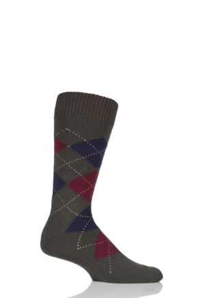 Mens 1 Pair Pantherella Racton Heavy Gauge Merino Wool Argyle Socks Dark Olive Mix 7.5-9.5 Mens