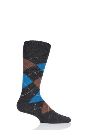 Mens 1 Pair Pantherella Racton Heavy Gauge Merino Wool Argyle Socks Charcoal 7.5-9.5