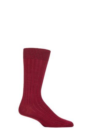 Mens 1 Pair Pantherella Merino Wool Ribbed Leisure Socks Wine M