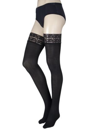 Ladies 1 Pair Pretty Legs 80 Denier Lace Top Hold Ups