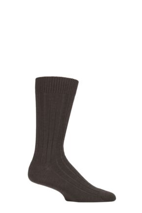 Mens 1 Pair Pantherella Merino Wool Ribbed Leisure Socks Dark Brown Mix 10-12 Mens