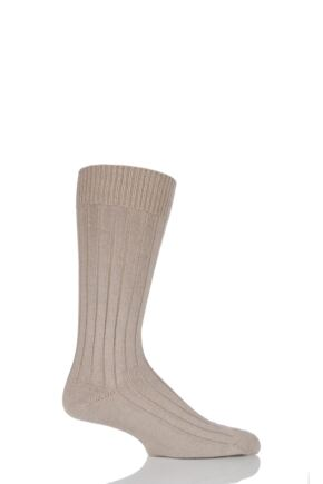 Mens 1 Pair Pantherella Merino Wool Ribbed Leisure Socks Light Khaki M