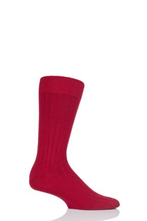 Mens 1 Pair Pantherella Merino Wool Ribbed Leisure Socks Royal Red L