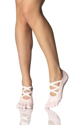 Ladies 1 Pair ToeSox Ballet Cross Full Toe Socks With Grip