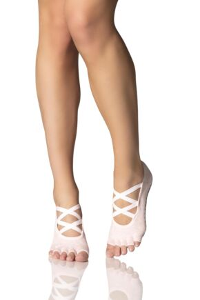 Ladies 1 Pair ToeSox Ballet Cross Half Toe Socks With Grip