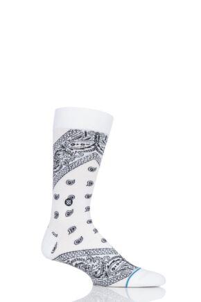 Mens 1 Pair Stance Barrio Paisley Bandana Cotton Socks