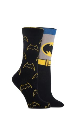 Ladies 2 Pair SockShop DC Comics Mix Batman Socks