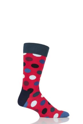 Mens and Ladies 1 Pair Happy Socks Big Dot Combed Cotton Socks Red 4-7 Unisex