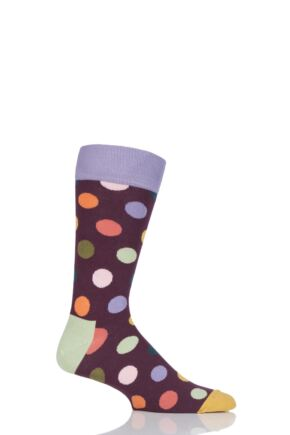 Mens and Ladies 1 Pair Happy Socks Big Dot Combed Cotton Socks Burgundy 4-7 Unisex