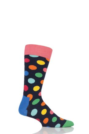 Mens and Ladies 1 Pair Happy Socks Big Dot Combed Cotton Socks
