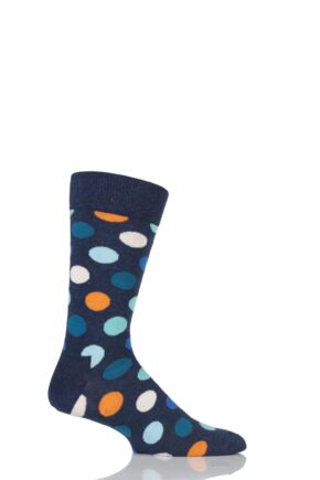 Mens and Ladies 1 Pair Happy Socks Big Dot Combed Cotton Socks Blue 7.5-11.5 Unisex