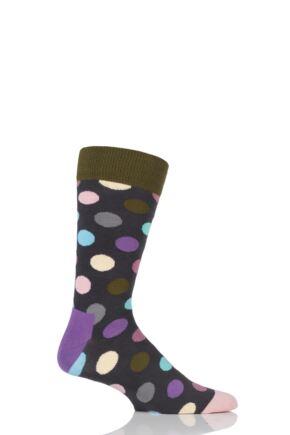 Mens and Ladies 1 Pair Happy Socks Big Dot Combed Cotton Socks Purple 7.5-11.5 Unisex