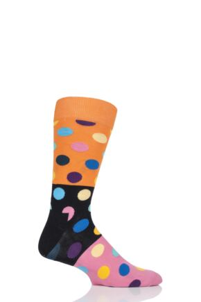Mens and Ladies 1 Pair Happy Socks Big Dot Block Combed Cotton Socks Orange 4-7 Unisex