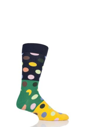 Mens and Ladies 1 Pair Happy Socks Big Dot Block Combed Cotton Socks Navy 7.5-11.5 Unisex
