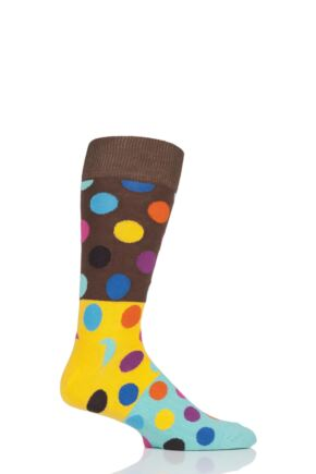 Mens and Ladies 1 Pair Happy Socks Big Dot Block Combed Cotton Socks
