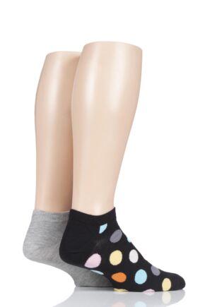 Mens and Ladies 2 Pair Happy Socks Patterned Trainer Socks