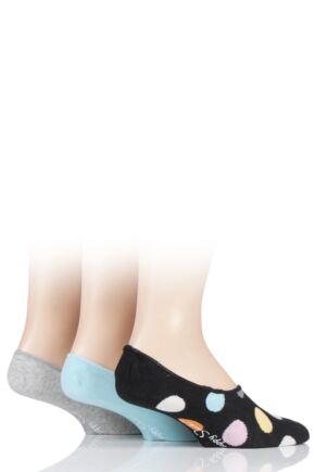 Mens and Ladies 3 Pair Happy Socks Patterned Shoe Liner Socks