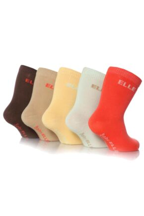 Girls 5 Pair Baby Elle Bohemian Plain Socks