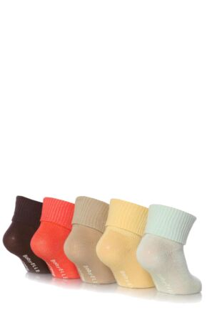 Girls 5 Pair Baby Elle Bohemian Plain Ankle Socks