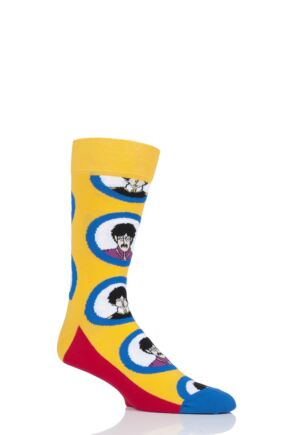 Happy Socks 1 Pair Beatles 50th Anniversary Yellow Submarine Faces Cotton Socks Yellow 7.5-11.5 Unisex