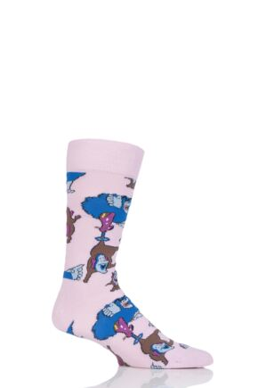 Mens and Ladies 1 Pair Happy Socks The Beatles Chief Blue Meanie and Jeremy Cotton Socks Pink 7.5-11.5 Unisex