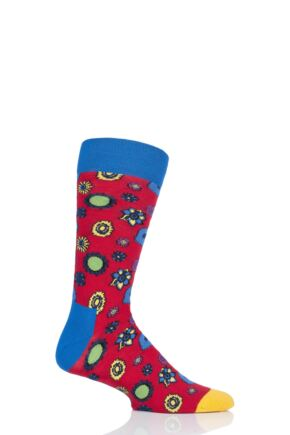 Happy Socks 1 Pair Beatles 50th Anniversary Yellow Submarine Flower Power Cotton Socks Orange 7.5-11.5 Unisex