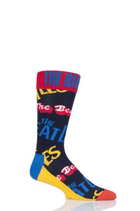 Mens and Ladies 1 Pair Happy Socks The Beatles All Over Logo 2019 Cotton Socks