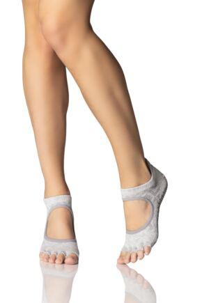 Ladies 1 Pair ToeSox Bellarina Open Front Half Toe Diamond Socks
