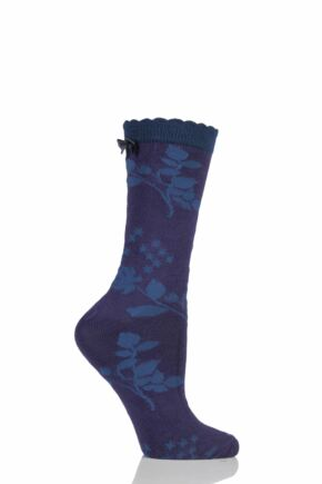Ladies 1 Pair Charnos Floral Bamboo Socks with Bow Berry