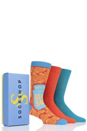 Mens 3 Pair SOCKSHOP Bamboo Bright Gift Boxed Socks Beans for Breakfast 7-11 Mens