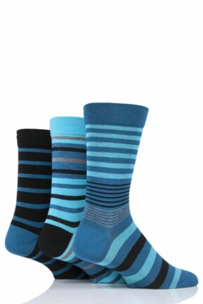 Mens 3 Pair SOCKSHOP Comfort Cuff Gentle Bamboo Striped Socks with Smooth Toe Seams Big City 7-11 Mens